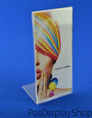 5 x 1/3rd A4 100mm x 210mm Angled Menu / Poster Holder Portrait Acrylic PDS8002