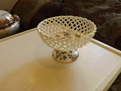 Erphilia Woven Basket Look Cherry Chintz Footed Bowl Germany