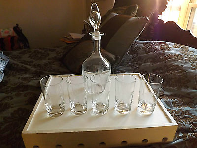 Etched Decanter with Stopper and 5 Piece Glass Set Swordfish Design