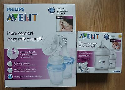 Philips AVENT Komfort-Hand-Milchpumpe +3 VIA Becher+Adapter+2 Flaschen 125ml