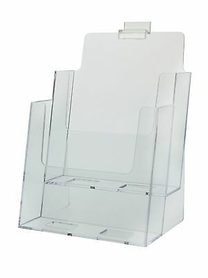 "6.38""w x 9""h Slatwall  2 Tier Brochure Literature Holder Clear Acrylic Lot of 4"