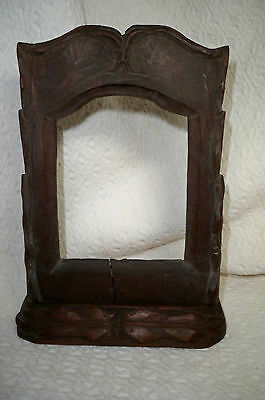 Antique Hand Carved Walnut Ornate Picture Frame Free Standing