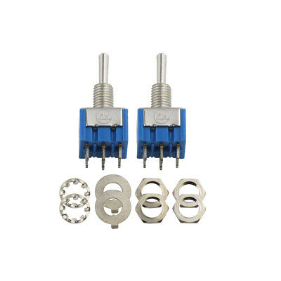 New 2pcs Blue Guitar 3-Way Mini Toggle Switch DPDT On/Off/On Switch 125VAC 6A