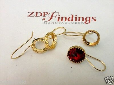 4pcs x Round 12mm Gold Plated Kidney Wire Bezel Earrings For Setting (956312GP)