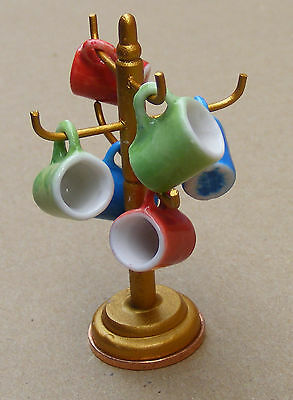 1:12 Scale 6 Mugs On A Tree - Rack Dolls House Miniature Coffee Cups Kitchen