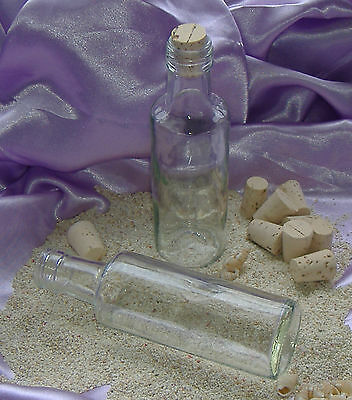 Clear Glass Empty 14cm 'Message Bottle' with Cork