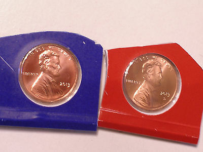 2013 P & D  Uncirculated Lincoln Shield Penny from US Mint Set in Mint wrapper