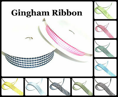 Top Quality Gingham Ribbon 25Mm Or 10Mm, 5 Mtrs, Various Cols, Art 54102,