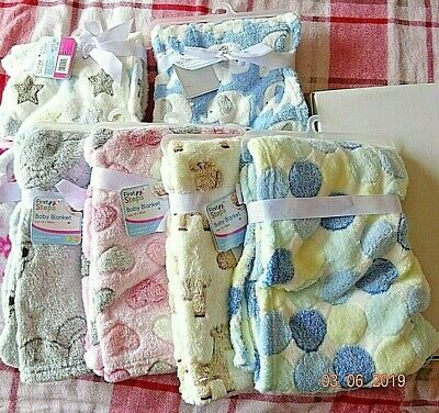 Baby Boy/Girl Pram Blanket Circles,Hearts,Elephant,Stars,Design Soft Pink/Blue