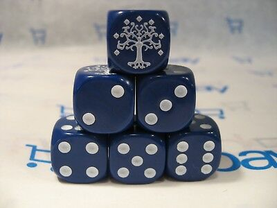 Lord of the Rings LOTR TMG Combat Hex Dice - Blue Gondorian (Solid) x 6