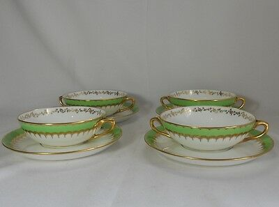 Coalport Spearmint Green 6143 Set of 4 Cream Soup Cups and Saucers