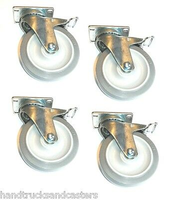 "Set of 4 Swivel Plate Casters with 5"" Soft Wheel & Total Lock Brake & 325 lb Cap"