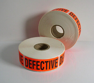 "(1000) ""DEFECTIVE"" Label 2-5/8"" x 1"" Sticker Inventory Control 2 Rolls of 500"