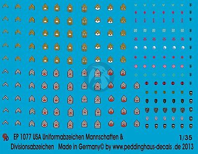 Peddinghaus 1/35 US Uniform Insignia and Troop Division Markings [Decal] 1077