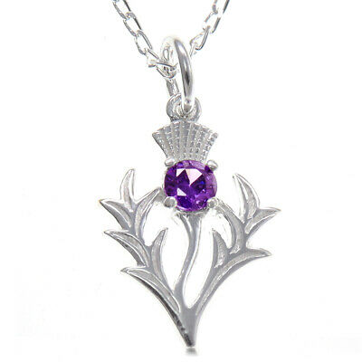 "Scottish Necklace - Silver Thistle Pendant with Amethyst & 18"" Silver Chain"