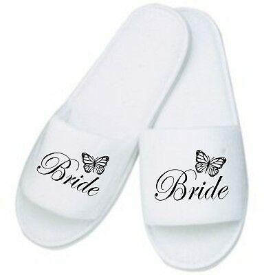 Personalised Butterfly Slippers / Mules Ideal for Weddings Honeymoon Home Bride