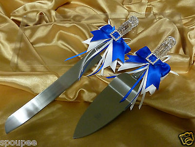 CRYSTAL LOOK CAKE KNIFE SERVER SET WEDDING BOW HEART WHITE ROYAL or NAVY BLUE