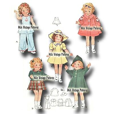 """Vintage Doll Clothes Pattern ~ 13"""" 14"""" Shirley Temple, Patsy, Composition"""