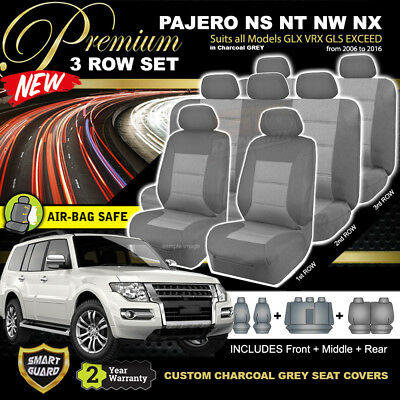 Custom Made Mitsubishi Pajero Black Car Seat Covers F+R 2006-2016 Ns Nt Nw Nx !!