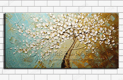 "OP379 Hand-painted Abstract Oil Painting on canvas ""The peacock tree""(NO Frame)"