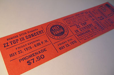 ZZ TOP Original 1975__UNUSED CONCERT TICKET__Fandango Tour - Felt Forum @ MSG