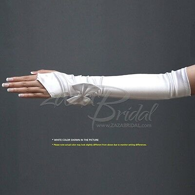 Shiny Stretch Satin Fingerless Long Gloves with Satin Bow