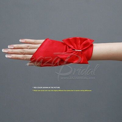 Shiny Stretch Satin Short Fingerless Gloves with Bow and Faux Pearl Accent