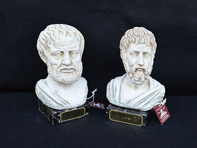 Aristoteles and Sophocles Ancient Greek philosophers sculpture busts artifacts