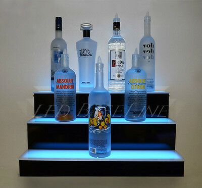 "36"" LED LIGHTED SHELF, 3 TIER WALL-MOUNTED, Home/Bar Liquor Bottle Display Rack"