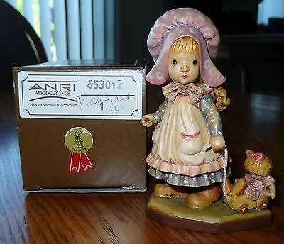 """ANRI hand carved wood """"Playtime"""" 4"""" #653012"""