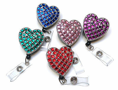 Rhinestone Crystal reel retractable ID badge holder for Nurse Airline - Heart