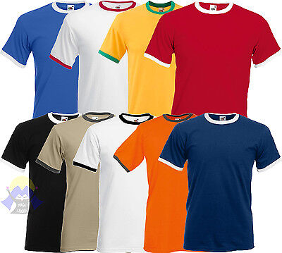 T-shirt RINGER Uomo FRUIT OF THE LOOM Maglia S M L XL XXL Manica Corta 61-168-0