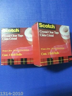 2 x Scotch Brand Tapes 3M CC1920 Crystal Clear Tape Refill 3/4 inch x 21.8yds