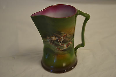 ANTIQUE ROYAL BAYREUTH CREAMER HUNTING SCENE HOUNDS DOGS & STAG BLUE MARK