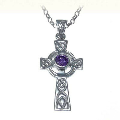 "Sterling Silver & Amethyst Celtic Cross Pendant with 18"" Chain & Jewellery Box"