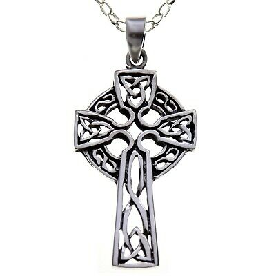 "Sterling Silver Celtic Cross Pendant Necklace with 18"" Chain & Gift Box"