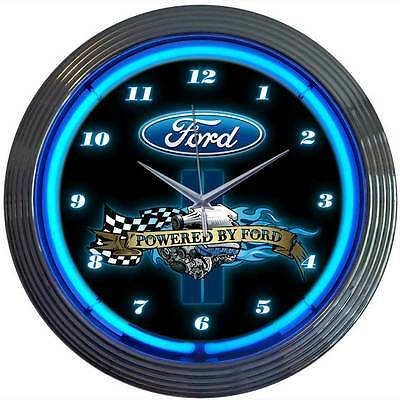Powered by Ford Oval neon clock sign garage wall lamp Man cave Mechanic