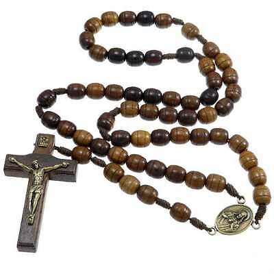 Wooden Rosary Beads with Miraculous Medal Junction - UK seller
