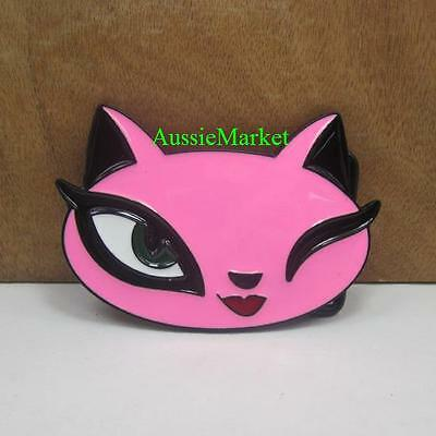 1 x ladies girls belt buckle pink cat woman lady metal alloy jeans dress new