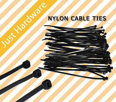 100PC PCS Black Electrical Nylon Cable Zip Ties (2.5mm x 150mm) UV Stabilised