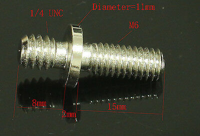 "1pcs long 1/4"" Male Threaded to M6 Male Threaded screw Adapter for tripod camera"