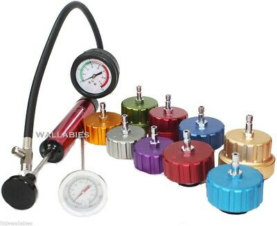 Deluxe Auto Cooling System Radiator Color Cap Pressure Tester Pump Gauge Kit NEW