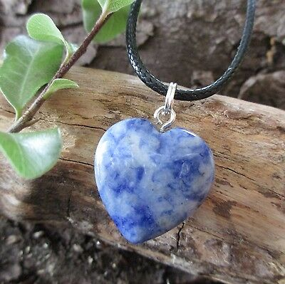 SODALITE Crystal Healing Heart WEIGHT LOSS  METABOLISM Gemstone Pendant Necklace