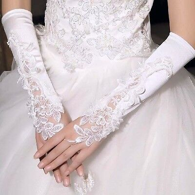 White / Ivory Lace Wedding Brides Satin Fingerless Faux Pearls Elbow Gloves