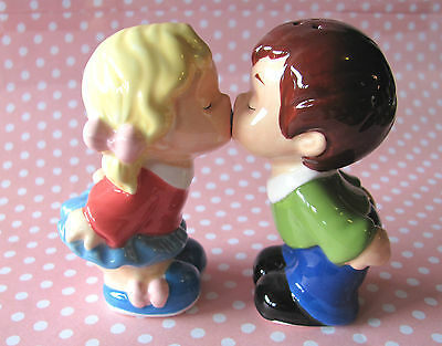 Mwah ~ FIRST KISS ~ Ceramic Salt & Pepper Shakers ~ Home Decor ~ Engagement Gift