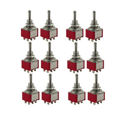 Set of 12pcs Red Guitar 3 Way Mini Toggle Switches On/Off/On DPDT Switch 6 Pins