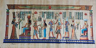 "Egyptian Pharaoh Gods On Boat Original Hand Painted Papyrus 46""X24""(116x60 Cm)"