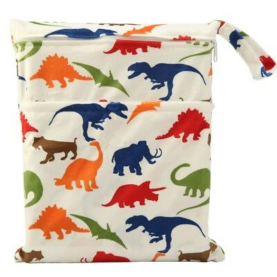 Wet Dry Bag Baby Cloth Diaper Nappy Bag Waterproof Reusable Dinosaur Two Zippers