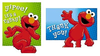 Sesame Street Elmo Birthday Party Invitations and Thank You Notes-  RARE!