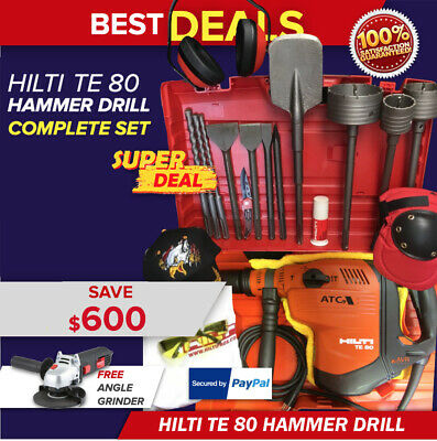 Hilti Te 80-Atc Avr, New, Free Grinder, Survival Knife,bits & Chisels, Fast Ship